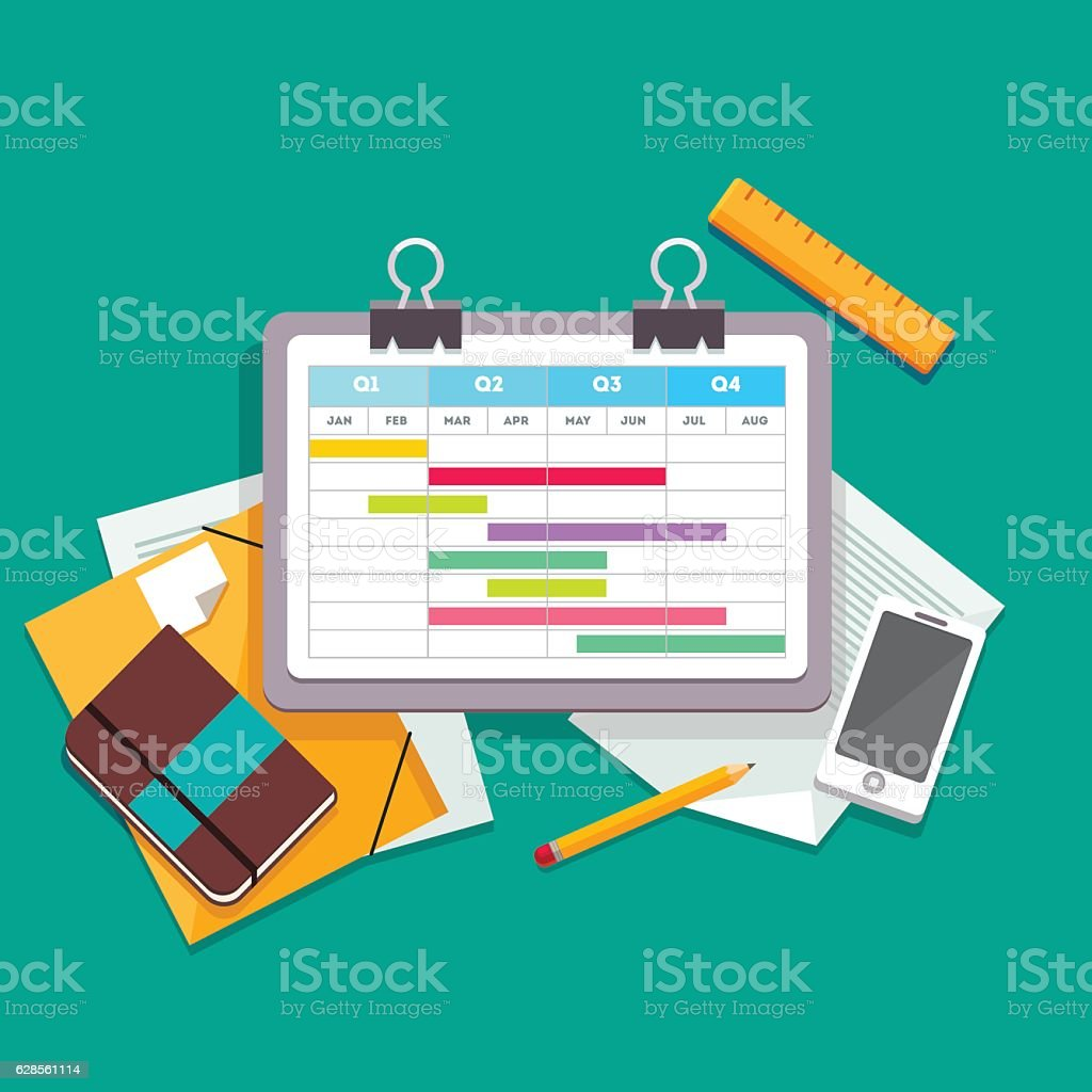 Gantt chart planning process document vector art illustration