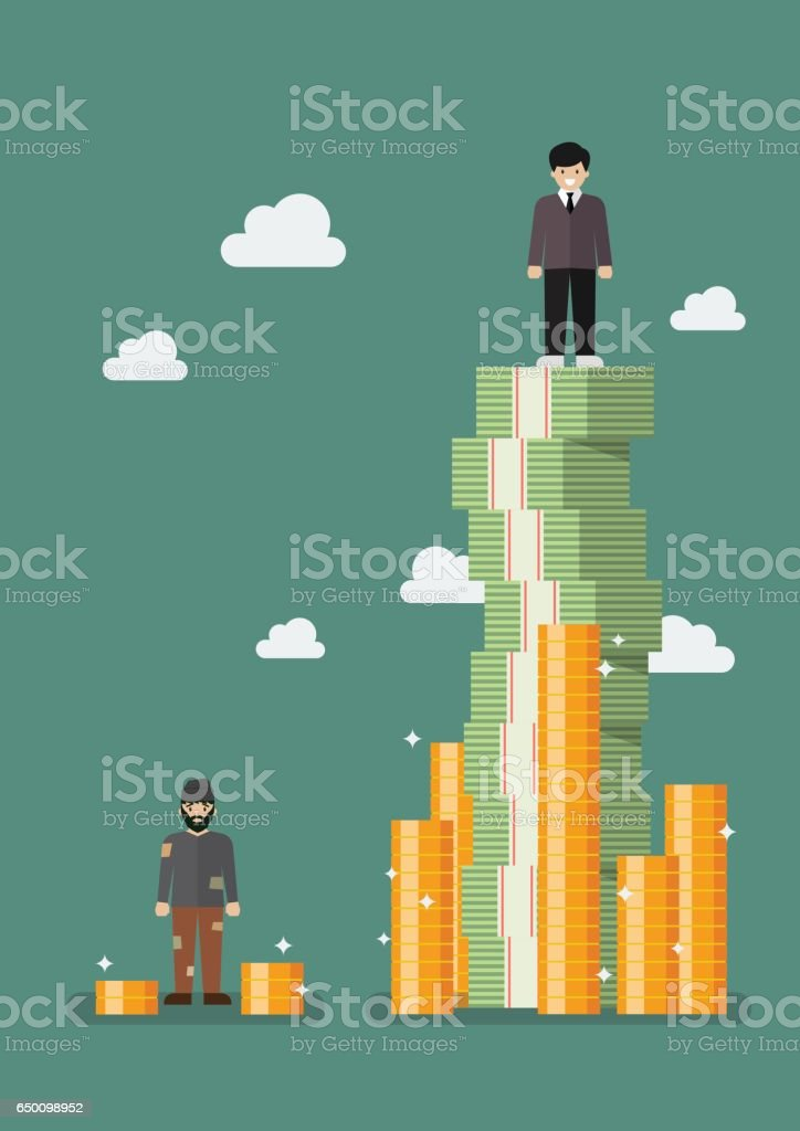 Gap between rich and poor vector art illustration