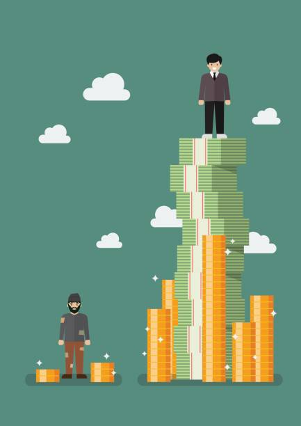 Gap between rich and poor vector art illustration
