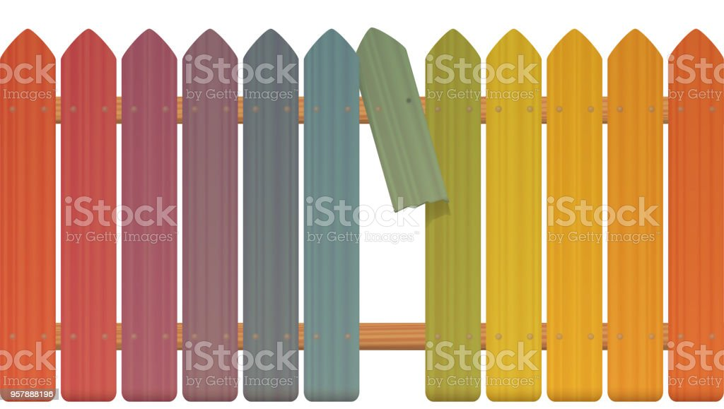 Gap in the fence - colored picket fence with broken plank and loophole to slip through, escape, flee, take off, break free, slip away, sidle off - isolated vector illustration on white background. vector art illustration