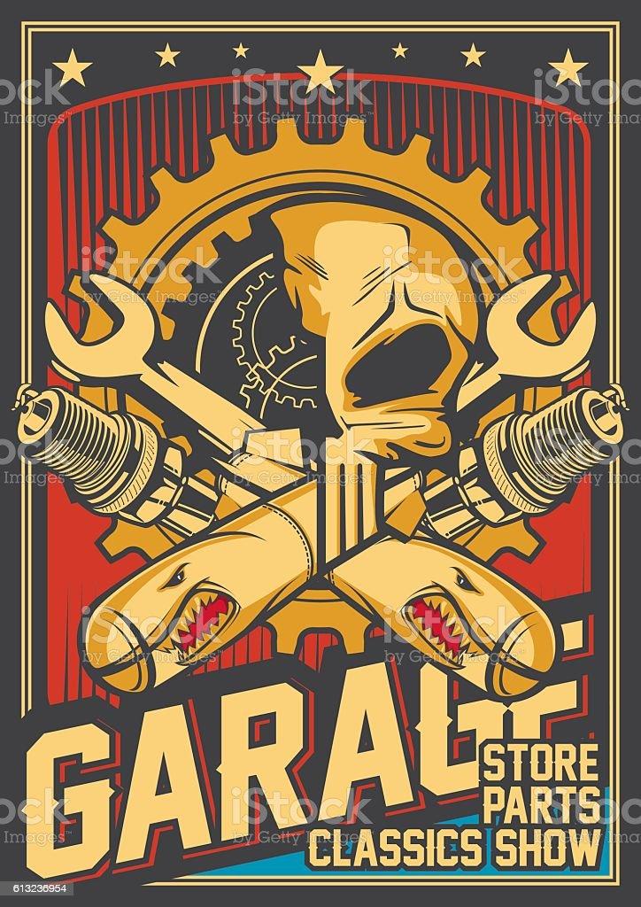 Garage and bomb poster – Vektorgrafik