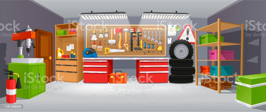 Garage Background Building For A Car To Keep Stock Illustration Download Image Now Istock