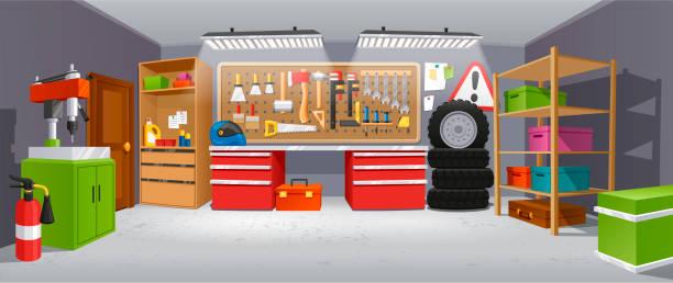 ilustrações de stock, clip art, desenhos animados e ícones de garage background, building for a car to keep - driveway, no people