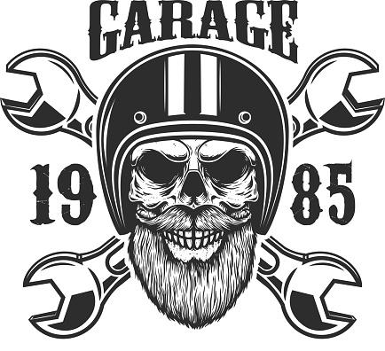 Garage. Bearded skull in racer helmet with crossed wrenches. Design element for label, sign, emblem, poster, t shirt. Vector illustration