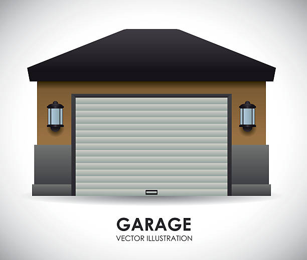 garage design vector art illustration