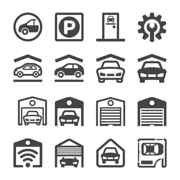 ilustrações de stock, clip art, desenhos animados e ícones de garage icon - house garage