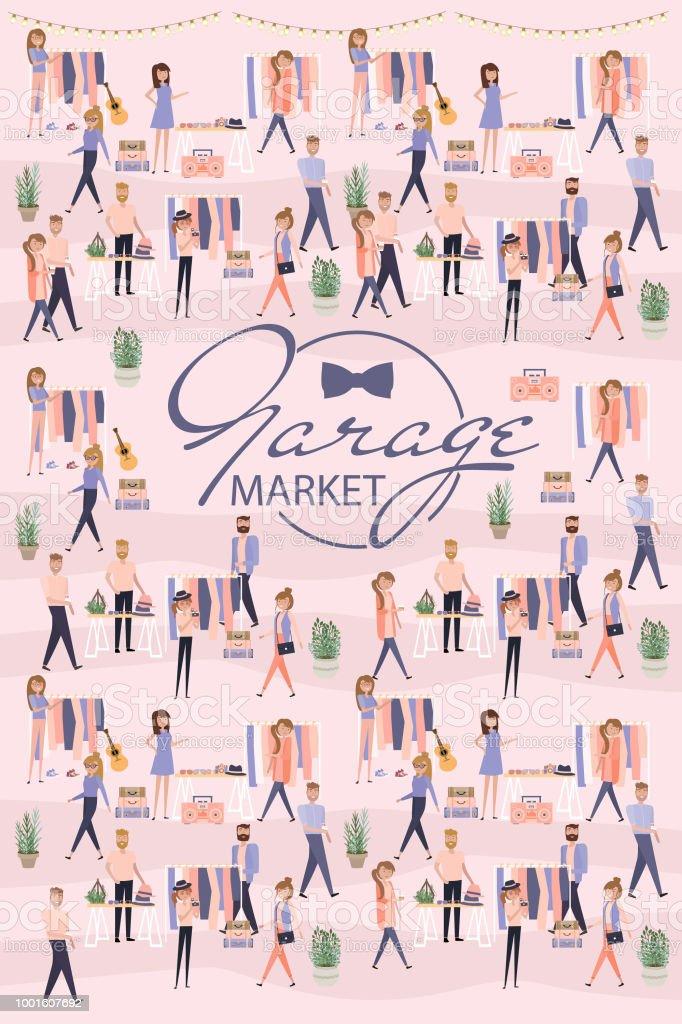 Cartaz de mercado garagem - ilustração de arte em vetor