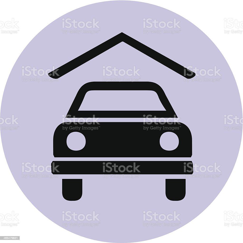 garage or carport symbol on purple circle vector art illustration