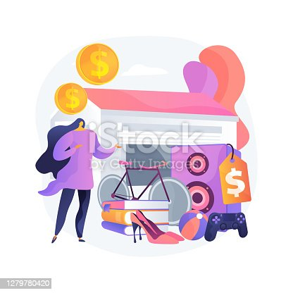 Garage sale abstract concept vector illustration. Flea market, second hand goods, garage selling day, vintage clothing give away, used inventory, yard pop up rummage sale abstract metaphor.