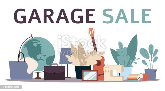 istock Garage sale banner with flat cartoon furniture objects arranged on the floor 1198544581
