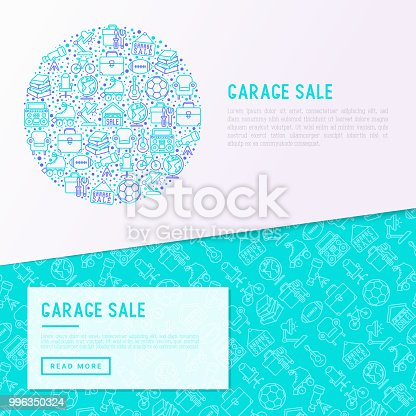 istock Garage sale concept in circle with thin line icons: signboard, globe, telescope, guitar, rollers, armchair, toolbox, soccer ball. Modern vector illustration, web page template. 996350324
