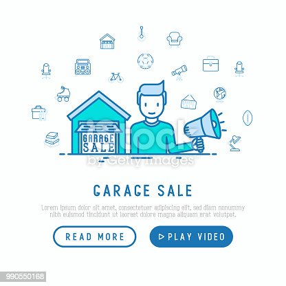 istock Garage sale concept. Man with speaker makes an announcement near the garage with thin line icons around: signboard, globe, telescope, guitar, rollers, armchair, toolbox. Modern vector illustration. 990550168
