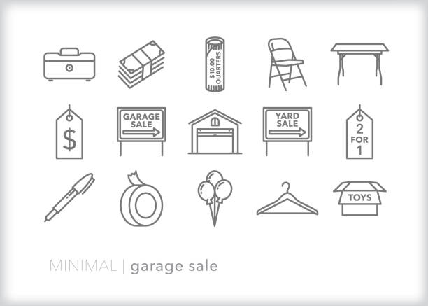 Garage sale line icon set Set of 15 garage sale, yard sale, rummage sale line icons for clearing items out of a home foldable stock illustrations