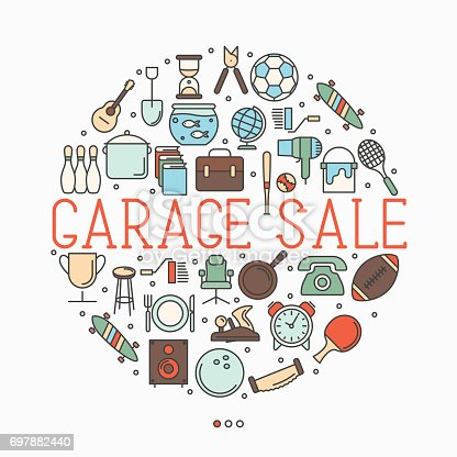 istock Garage sale or flea market concept in circle with text inside. Thin line vector illustration. 697882440
