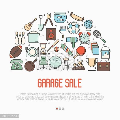 istock Garage sale or flea market concept in circle with text inside. Thin line vector illustration. 801197790