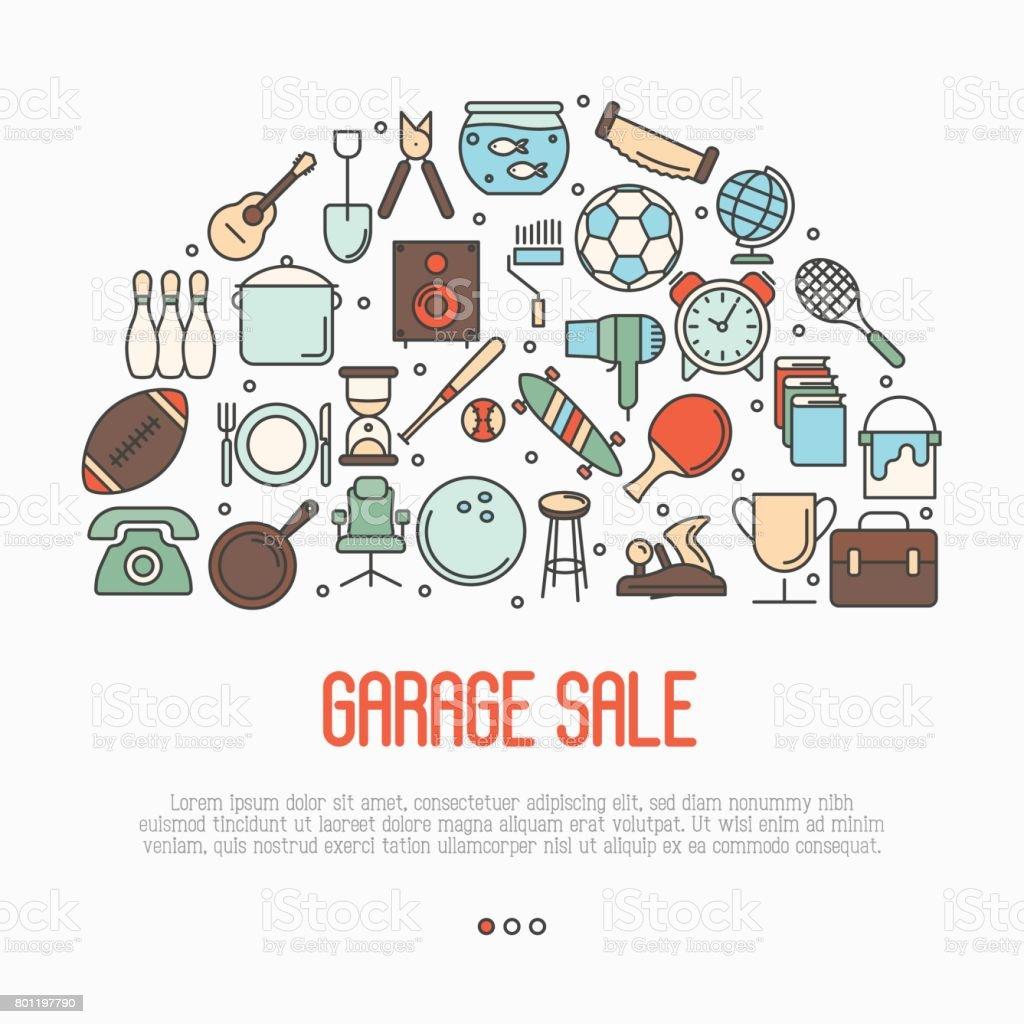 Concept de vente de garage ou marché aux puces de cercle avec texte à l'intérieur. Illustration de vecteur ligne mince. - Illustration vectorielle