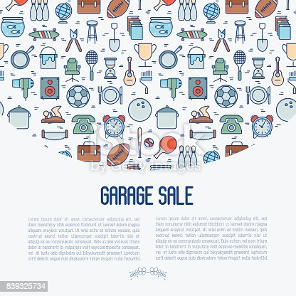 istock Garage sale or flea market concept with place for text. Thin line vector illustration for banner, web page, print media. 839325734