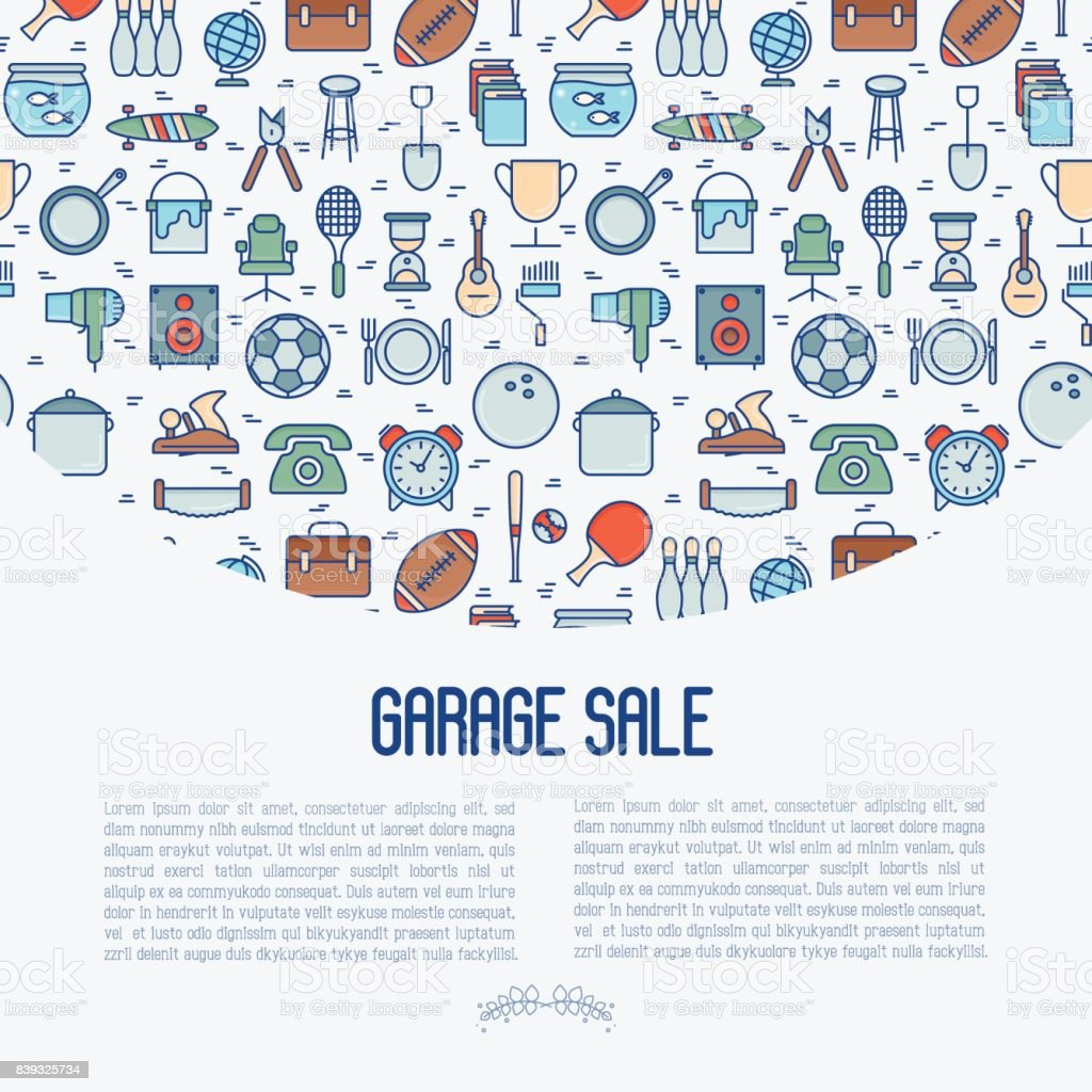 Concept de vente de garage ou marché aux puces avec place pour le texte. Illustration vectorielle de traits fins pour la bannière, page web, presse écrite. - Illustration vectorielle