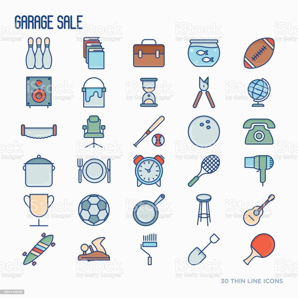 Vente de garage ou marché aux puces icônes de traits fins définies. Illustration vectorielle pour la bannière, page web, presse écrite. - Illustration vectorielle