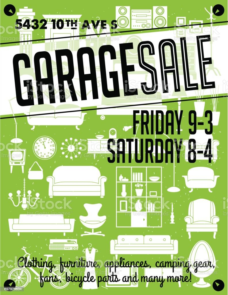 garage sale poster stock vector art more images of announcement
