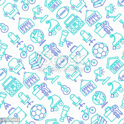 istock Garage sale seamless pattern with thin line icons: signboard, globe, telescope, guitar, rollers, armchair, toolbox, soccer ball. Modern vector illustration. 970266844