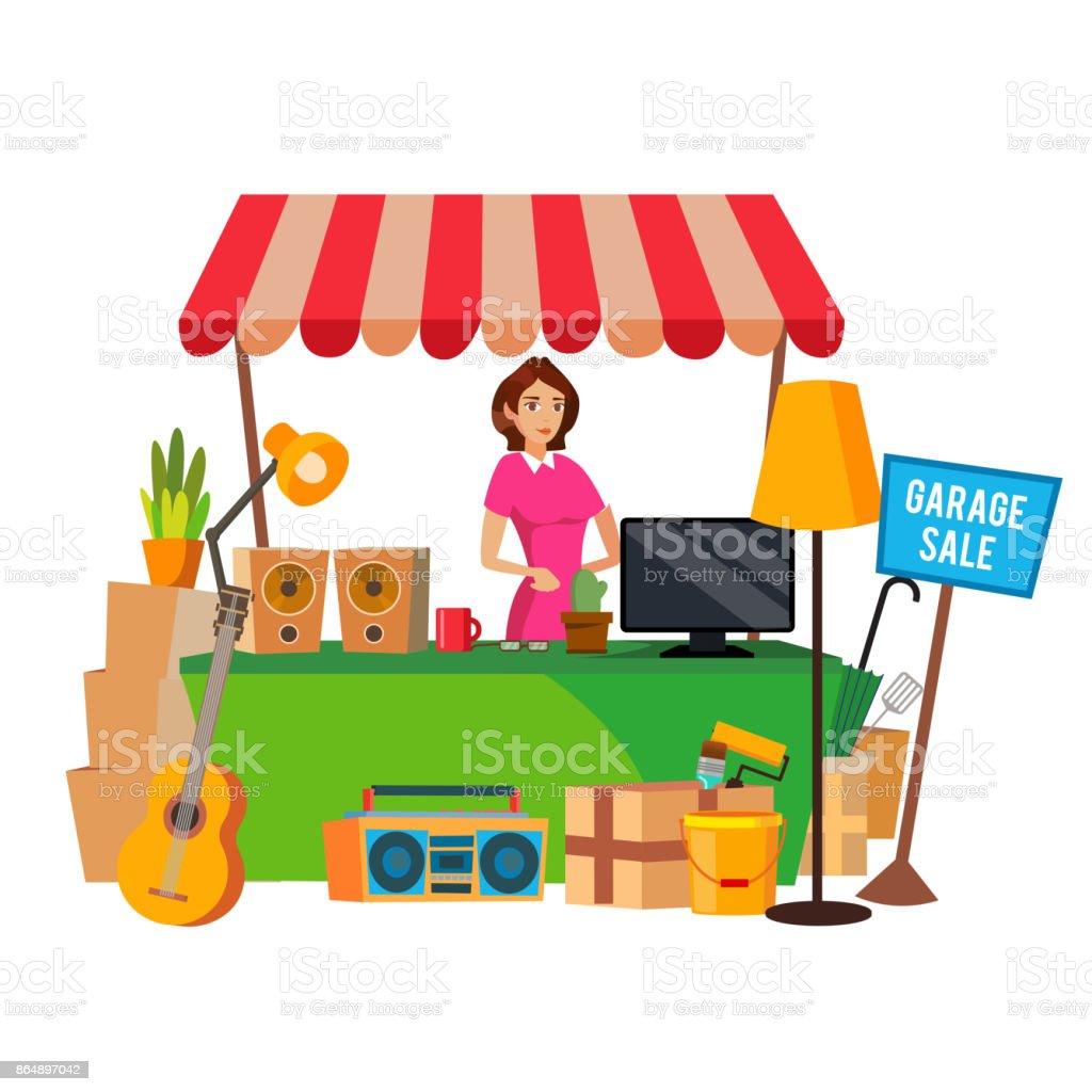 Vecteur de vente de garage. Un assortiment des articles ménagers. Plate bande dessinée Illustration - Illustration vectorielle