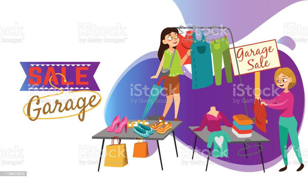 Garage Sale Young beautiful women at the weekly cloth market, girls...