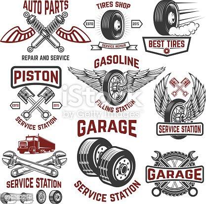 Garage, service station, tires shop, auto parts store. Design elements for label, emblem, sign, poster, t-shirt. Vector illustration