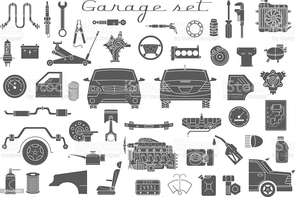 Garage Vector Car Parts Set Outline Details Isolated Stock Vector ...