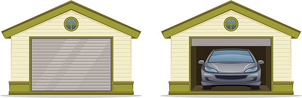 Garage with car Garage with car on a white background vehicle door stock illustrations