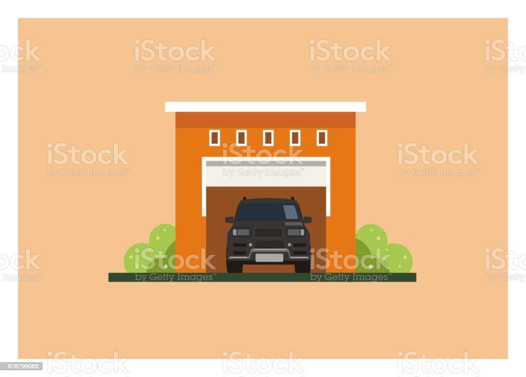 Garage With Flat Roof Stock Illustration Download Image Now Istock