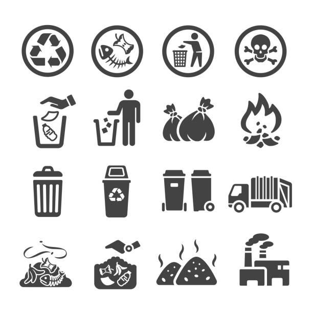 ilustraciones, imágenes clip art, dibujos animados e iconos de stock de garbag icono - contaminación ambiental