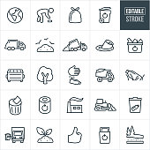 A set garbage and recycling icons that include editable strokes or outlines using the EPS vector file. The icons include the earth, person picking up trash, trash bag, garbage can, recycle symbol, garbage truck, dump, landfill, pollution, recycling bin, dumpster, battery, tree, littering, dump truck, litter, plastic water bottle, waste basket, incinerator, garbage, trash and waste to name a few.