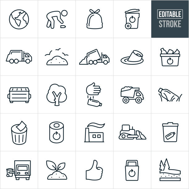 Garbage and Recycle Thin Line Icons - Editable Stroke vector art illustration
