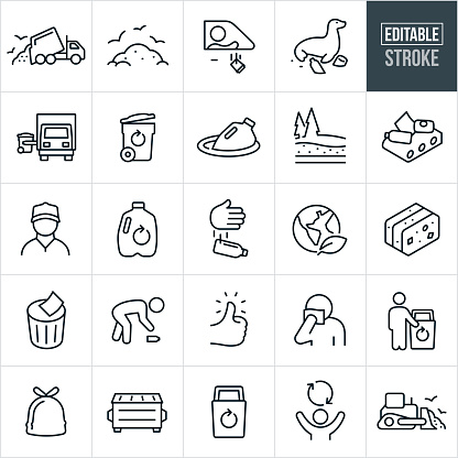 Garbage and Recycle Thin Line Icons - Editable Stroke