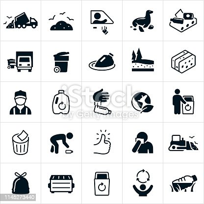 A set of icons representing garbage and the management of the waste. The icons include garbage, garbage truck with trash, garbage truck picking up trash, garbage man, garbage can, littering, trash, trash on beaches, trash management, trash floating in water, landfill, plastics, recycle bin, recycling, recycle symbol, waste bin, garbage sack full of trash, dumpster and other related icons.