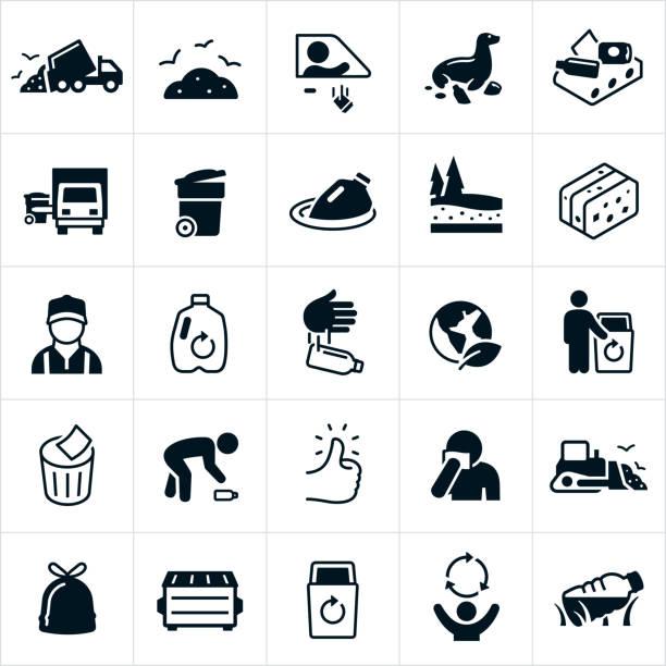 stockillustraties, clipart, cartoons en iconen met vuilnis en recycling iconen - oppakken