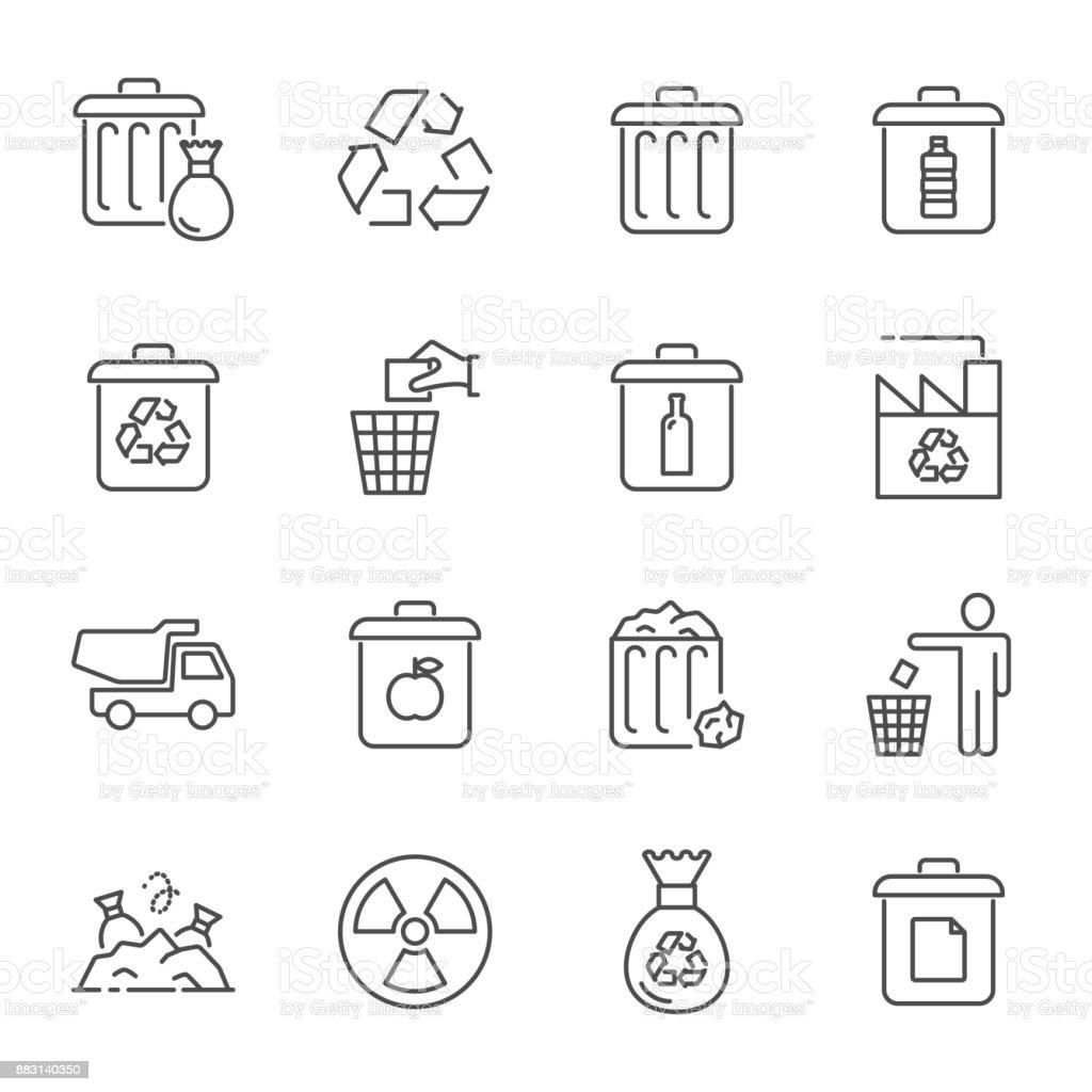 Basura y reciclaje de los iconos - ilustración de arte vectorial
