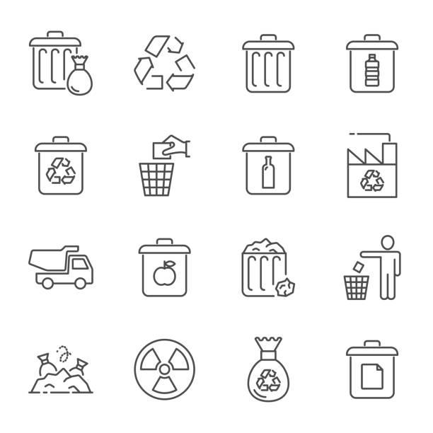 illustrations, cliparts, dessins animés et icônes de ordures et recyclage d'icônes - dechets