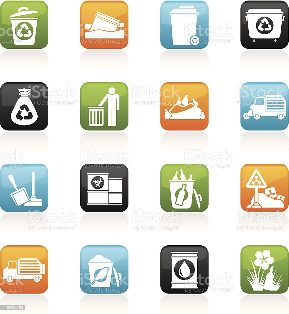 Garbage and rubbish icons vector art illustration
