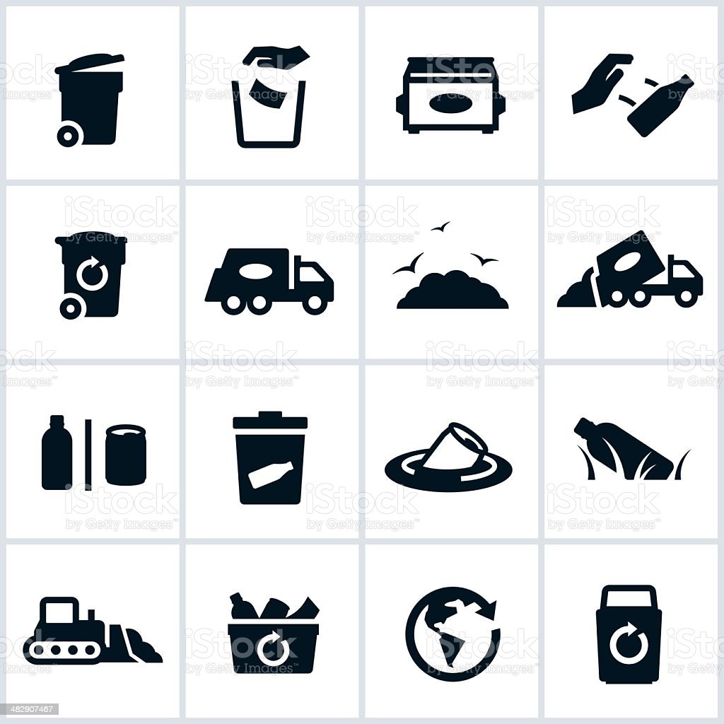 Garbage And Waste Management Icons vector art illustration