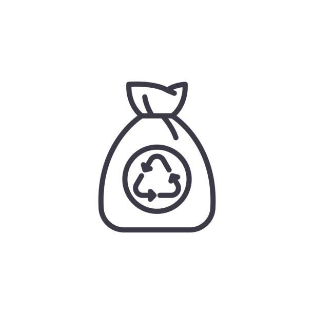 垃圾袋線性圖示概念。垃圾袋線向量符號, 符號, 插圖。向量藝術插圖