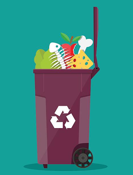 bildbanksillustrationer, clip art samt tecknat material och ikoner med garbage bin container full of junk food - food waste