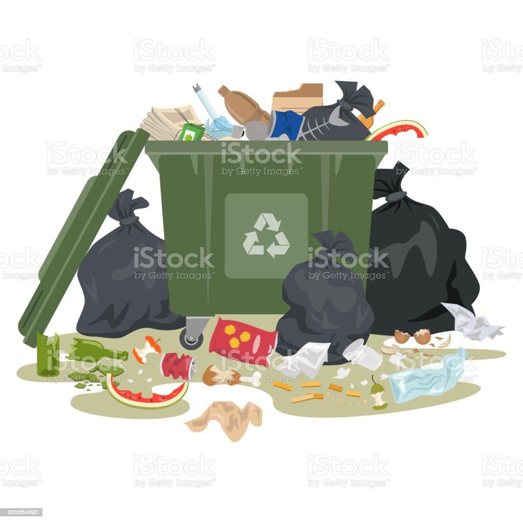 Cubo de basura lleno de basura sobre fondo blanco. - ilustración de arte vectorial