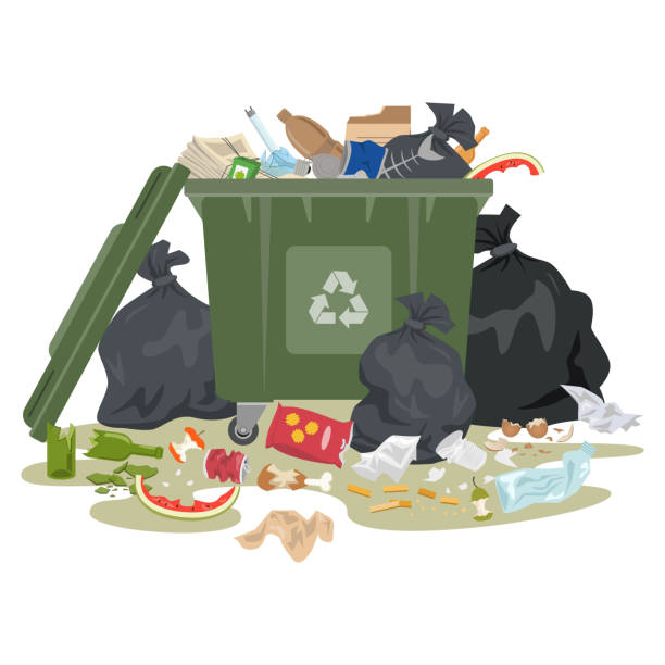 Garbage bin full of trash on white background. vector art illustration