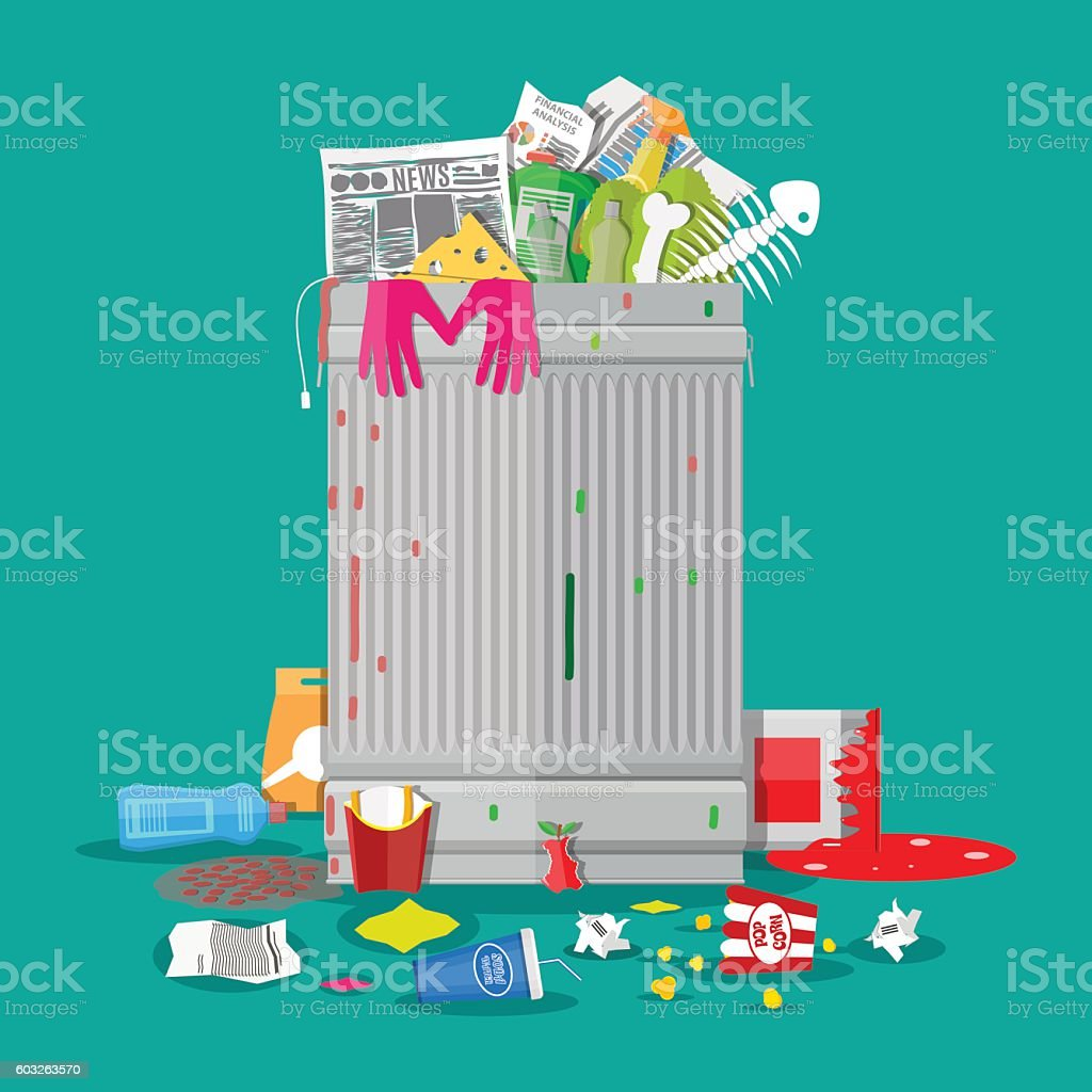 Garbage bin full of trash. Overflowing container vector art illustration