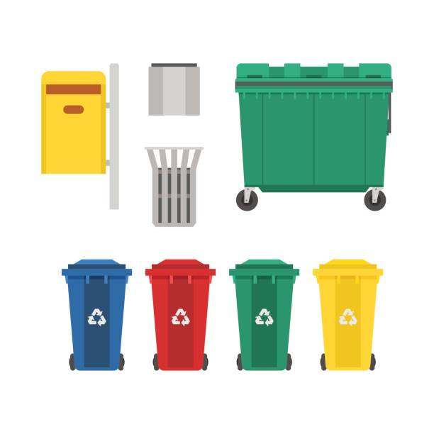 Garbage Bins and Trash Cans Set Recycling and garbage cans collection. City trashcan set with wheeled dumpster or trash container, recycle bins and waste basket. container stock illustrations