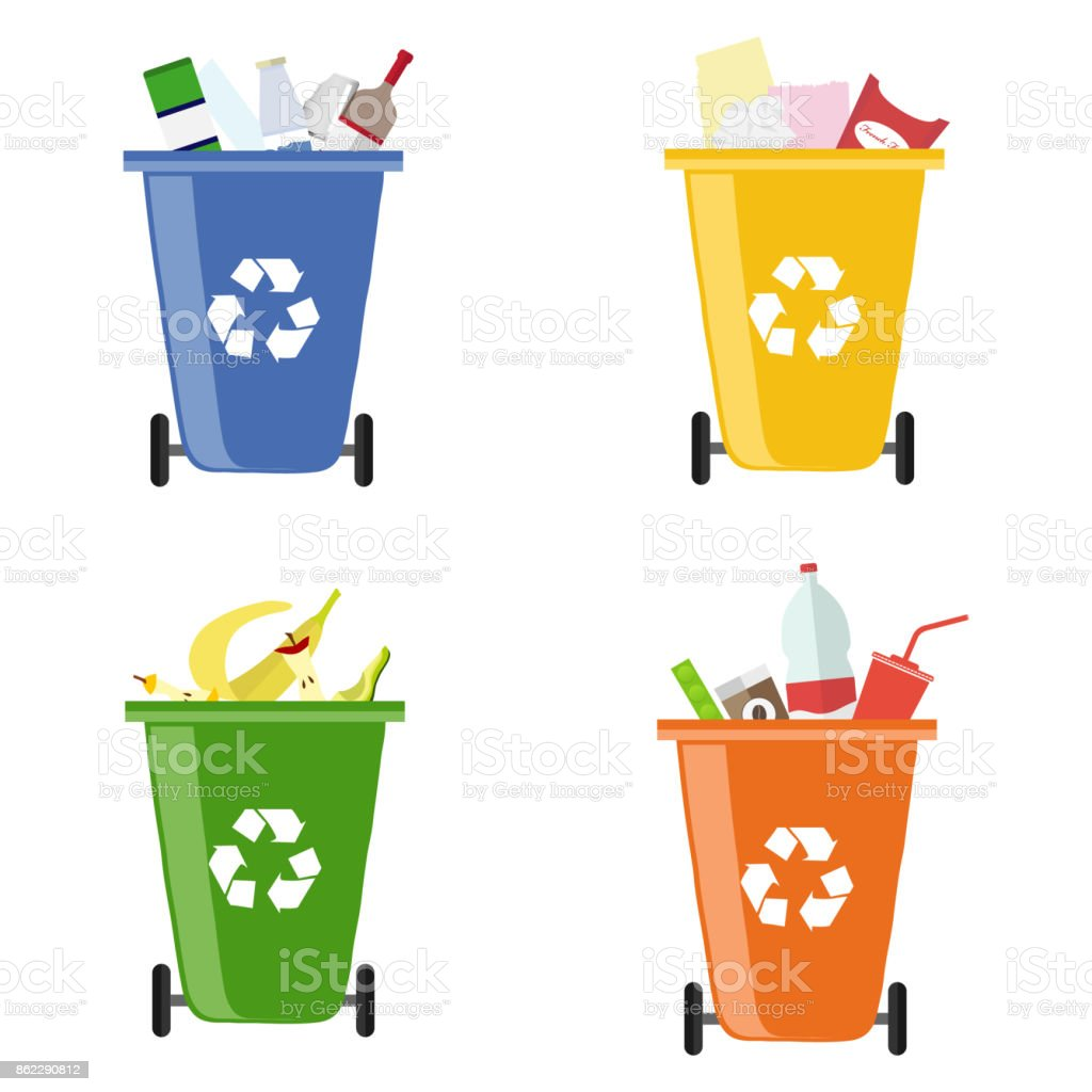 Garbage bins. Containers for different garbage. Separate collection of garbage vector art illustration