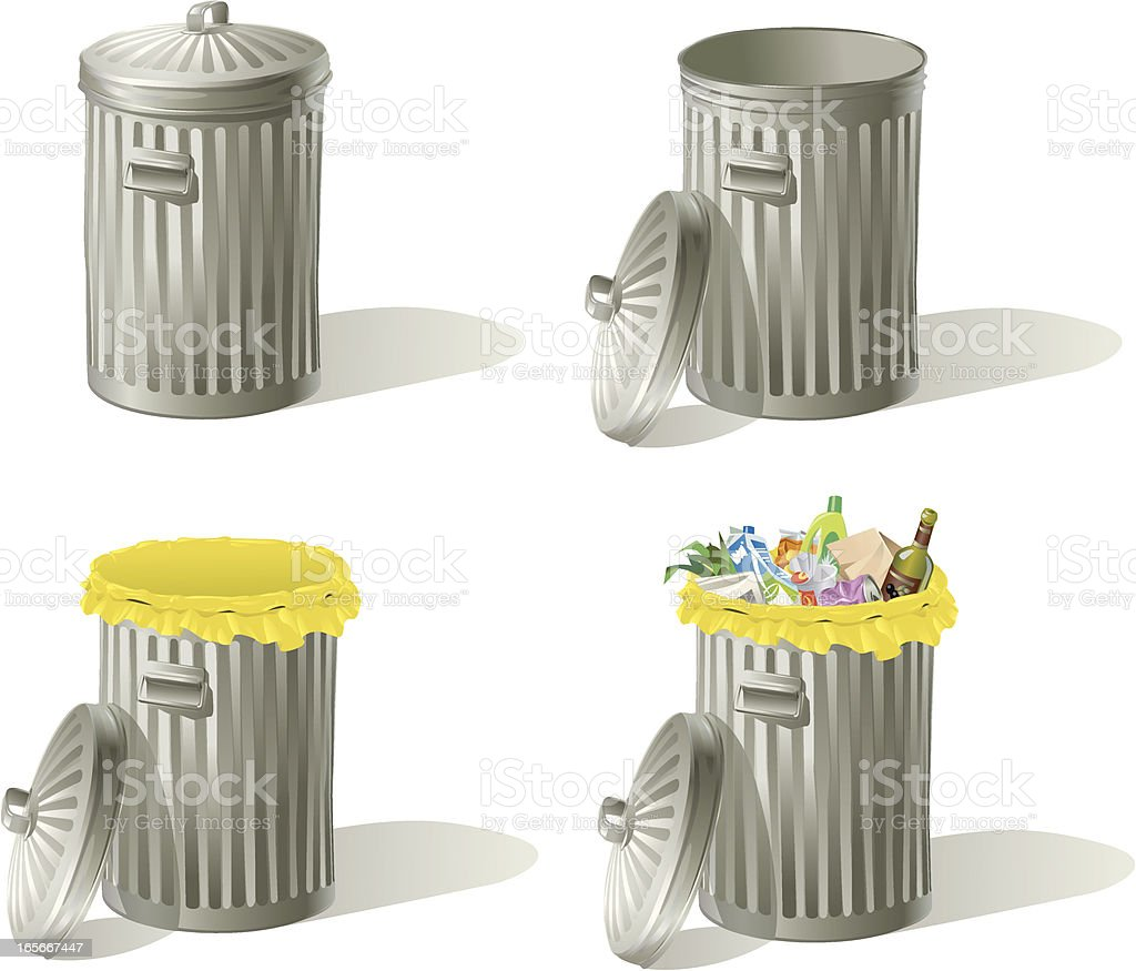 Garbage Bins Empty and Full vector art illustration