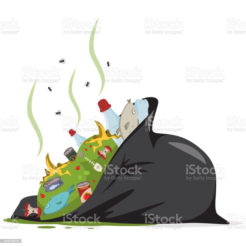 Sac poubelle noir avec les déchets alimentaires, plastique, déchets et détritus. Plate illustration de vecteur caricature isolée sur fond blanc. sac poubelle noir avec les déchets alimentaires plastique déchets et détritus plate illustration de vecteur caricature isolée sur fond blanc vecteurs libres de droits et plus d'images vectorielles de aliment libre de droits
